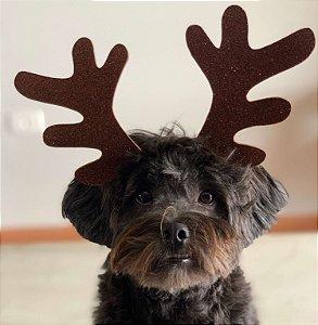 Tiara de Natal com Chifres de Rena para Cachorros e Gatos