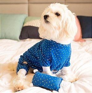 Pijama para Cachorros e Gatos | Poá Azul Celeste
