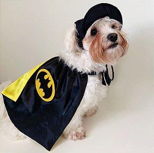 Fantasia para Cachorros e Gatos | Batman com Boné | Carnaval