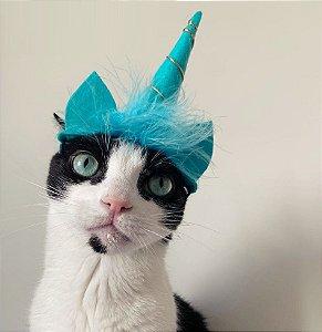 Fantasia para Cachorros e Gatos | Tiara Unicórnio Azul | Carnaval