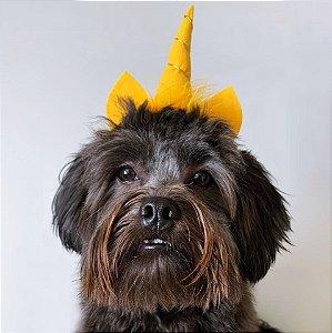 Fantasia para Cachorros e Gatos | Tiara Unicórnio Amarelo | Carnaval