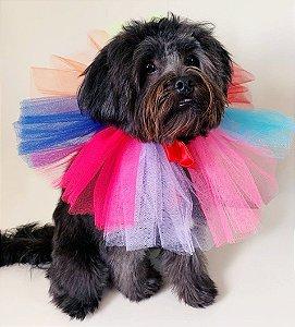 Fantasia para Cachorros e Gatos | Gola Tule Colorida | Carnaval