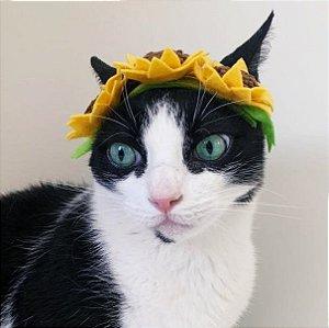 Fantasia para Cachorros e Gatos | Tiara Flores Girassois | Carnaval