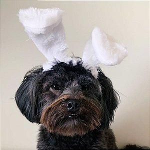 Fantasia de Páscoa Orelhas de Coelho Peludas para Cachorros e Gatos