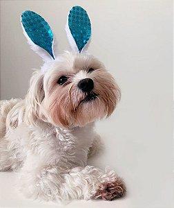 Fantasia para Cachorros e Gatos | Tiara Orelhas de Coelho Azul | Páscoa