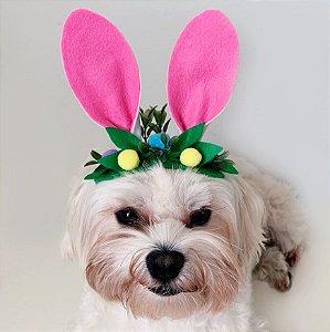 Fantasia de Páscoa Orelhas de Coelho com Enfeites para Cachorros e Gatos