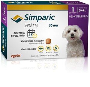 Antipulgas Simparic 10mg | Cães de 2,6 a 5kg