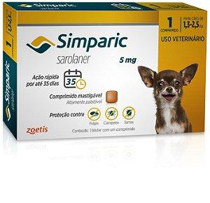 Antipulgas Simparic 5mg | Cães de 1,3 a 2,5kg