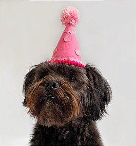 Fantasia para Cachorros e Gatos Chapéu de Aniversário Rosa