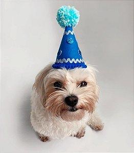 Fantasia para Cachorros e Gatos   Chapéu de Aniversário Azul