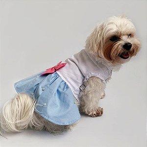 Vestido para Cachorros Azul com Pérolas