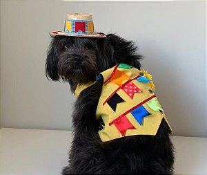 Fantasia de Festa Junina para Cachorros Colete Caipira Amarelo