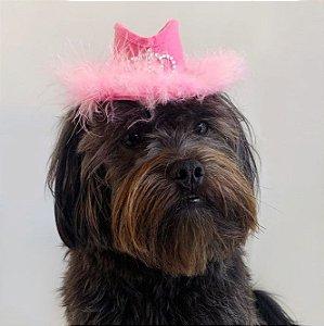 Fantasia para Cachorros e Gatos Chapéu Cowgirl Rosa