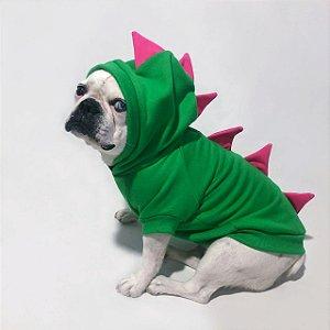 Moletom para Cachorros | Dinossauro Verde com Rosa
