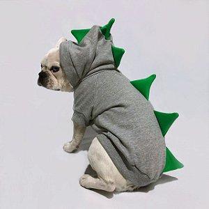 Moletom para Cachorros | Dinossauro Cinza com Verde