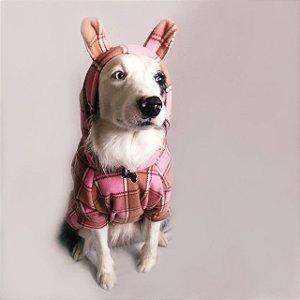 Moletom para Cachorros Xadrez Rosa