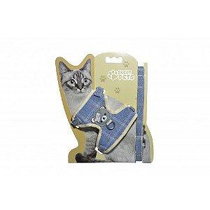 Peitoral com Guia para Gatos  Jeans