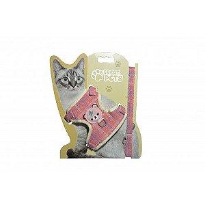 Peitoral com Guia para Gatos Jeans Rosa