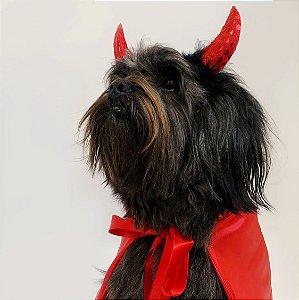 Fantasia para Cachorros e Gatos | Chifres e Capa de Capetinha | Halloween