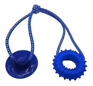 Brinquedo para Cachorros Cabo de Guerra com Ventosa Push Anel Azul