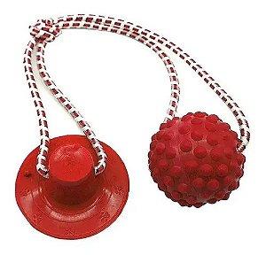 Brinquedo para Cachorros Cabo de Guerra com Ventosa Push Ball Bola Vermelho
