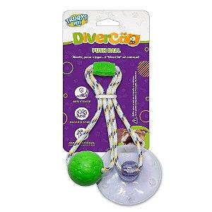 Brinquedo para Cachorros Cabo de Guerra com Ventosa Push Ball Pet Verde