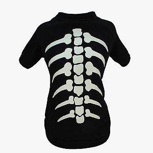 Camiseta para Cachorros | Esqueleto Brilhante | Halloween