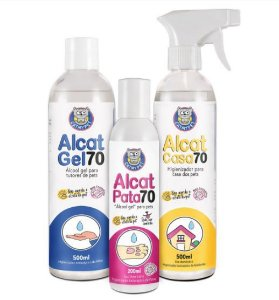 Kit Alcat 70 - Álcool Gel para Pet Tutores e Casa