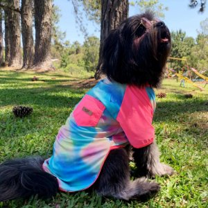 Camiseta Tie Dye Rosa Neon para Cachorros