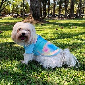Camiseta Tie Dye Azul Neon para Cachorros