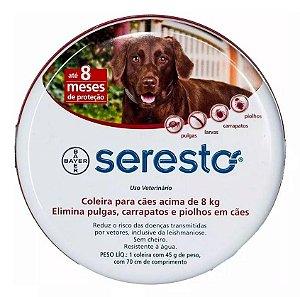 Coleira Antipulgas e Carrapatos Seresto para Cachorros acima de 8kg