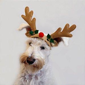 Fantasia Natal para Cachorros e Gatos Rena com Nariz Vermelho