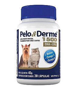Pelo e Derme 1500 DHA + EPA para Cachorros e Gatos