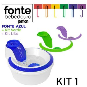 Fonte Bebedouro Petlon Colors para Cachorros e Gatos Kit 1