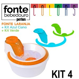 Fonte Bebedouro Petlon Colors para Cachorros e Gatos Kit 4