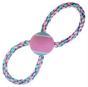 Brinquedo para Cachorros Corda com Bola de Tênis Pastel