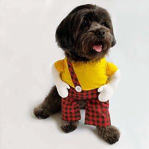 Fantasia para Cachorros Camiseta Amarela e Shorts Xadrez