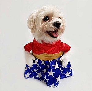 Fantasia para Cachorros Vestido Vermelho com Estrelas