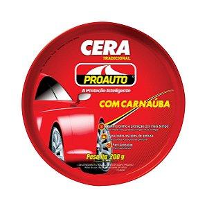 Cera Automotiva Tradicional Pasta Com Carnaúba Proauto 200g