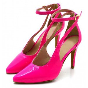 Scarpin Aberto Salto Alto Fino Verniz Pink Neon