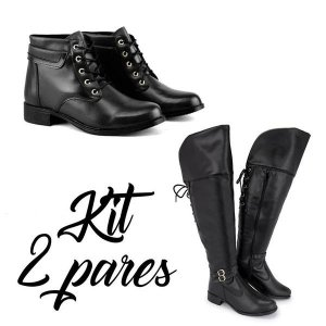 Kit 2 pares  Bota Over  e Coturno Feminino