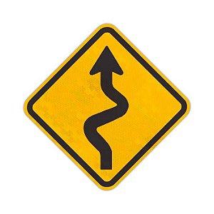 Placa Pista sinuosa à esquerda A-3a