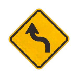 "Placa Curva acentuada em ""S"" à esquerda A-4a"