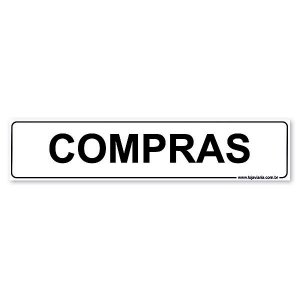 Placa Compras 30x6,5 cm ACM 3 mm