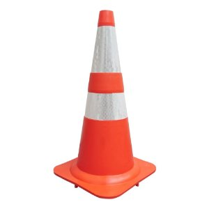 Cone flexível de sinalização com faixa refletiva - 75 cm