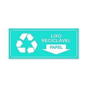 Placa Lixo Reciclável Papel - 30x13 cm ACM 3 mm