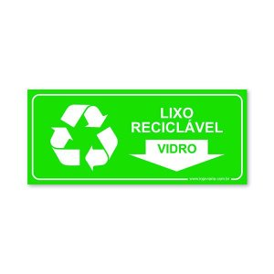 Placa Lixo Reciclável Vidro - 30x13 cm ACM 3 mm