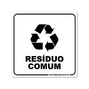 Placa Resíduo Comum - 18x18 cm ACM 3 mm