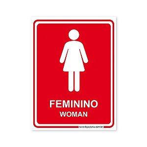 Placa Banheiro Feminino (Woman) - 15x20 cm ACM 3 mm