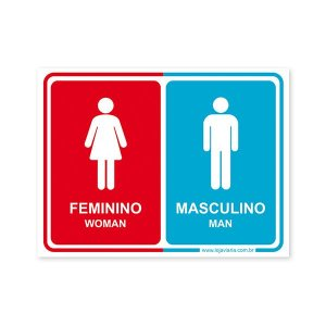 Placa Banheiro Unissex (Feminino, Masculino) - 20x15 cm ACM 3 mm